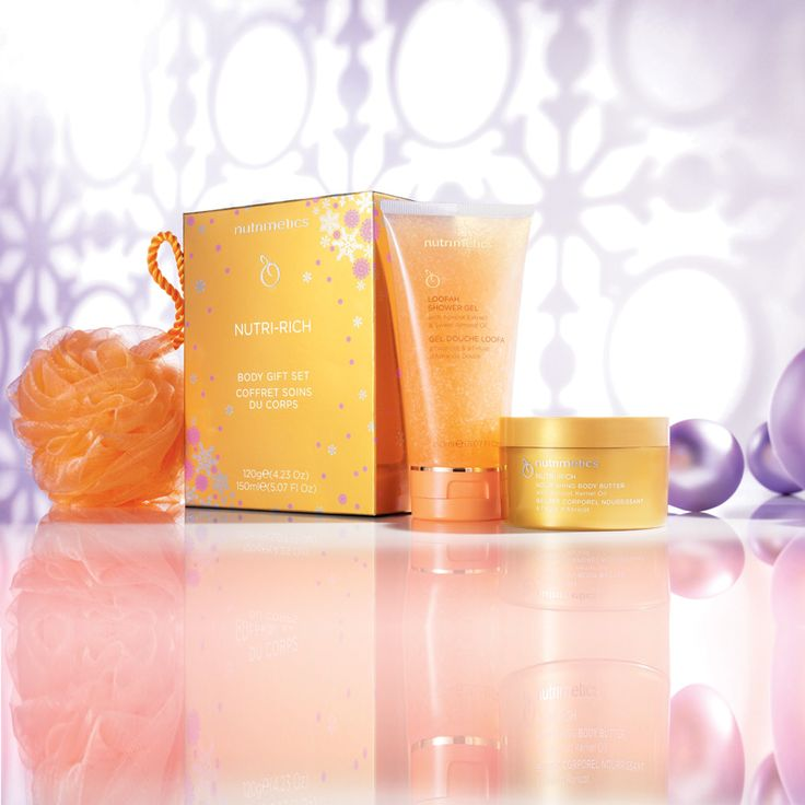 Nutri-Rich Gift Set includes Nutri-Rich Nourishing Body Butter 120g, Loofah Shower Gel 150ml and Gift Box.