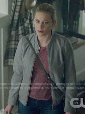 Betty's grey bomber jacket on Riverdale.  Outfit Details: https://wornontv.net/90392/ #Riverdale