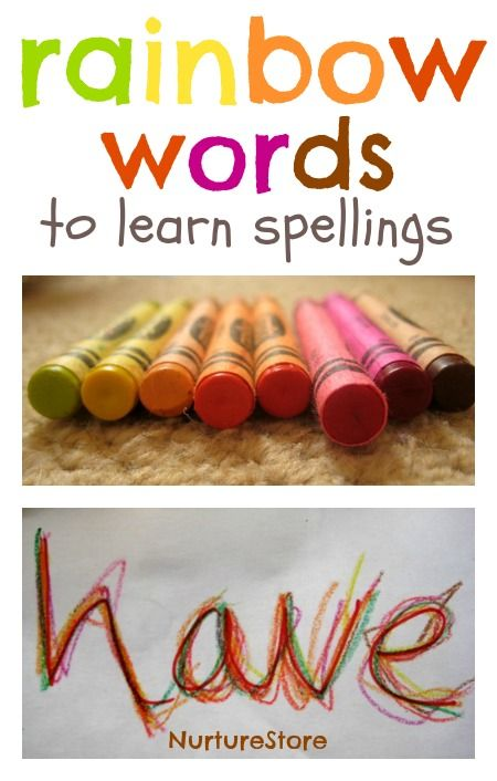 https://www.pinterest.com/pin/187180928239335972/      Rainbow words for preschoolers to learn writing their names.
