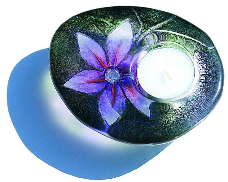 Flower Purple Delight Crystal Candle Holder by Mats Jonasson
