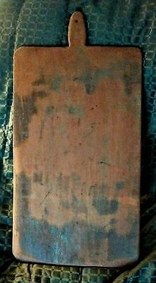 VINTAGE HAND CARVED  BREAD BOARD WITH ORIGINAL OLD BLUE PAINT
