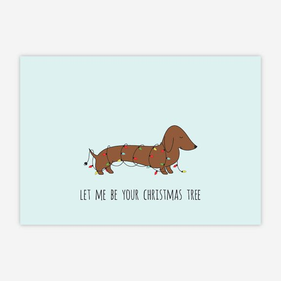 Lovely Sausage Dog Christmas Card Printable. by CharmArtStudio