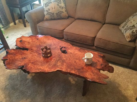 Coffee Table Live Edge Redwood Burl Slab Lace Figured By Gor1don