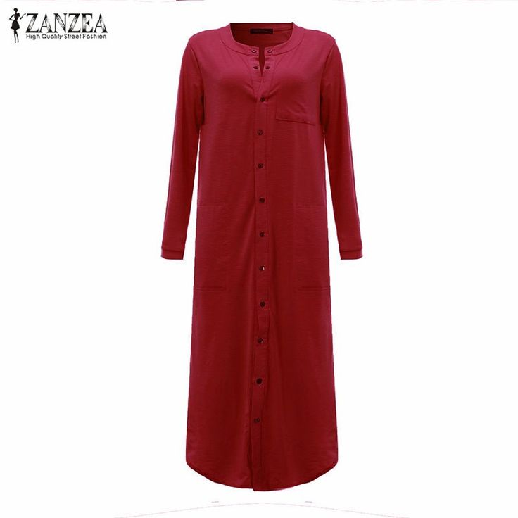 ZANZEA Fashion Autumn Womens Side Split Dresses Single Breasted Dress Long Sleeve Long Maxi Cotton Vestidos Plus Size S-5XL
