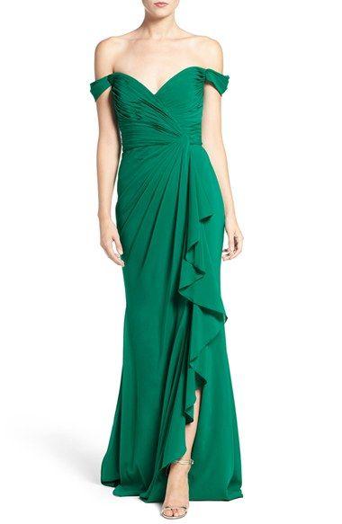 Badgley Mischka Off the Shoulder Silk Gown