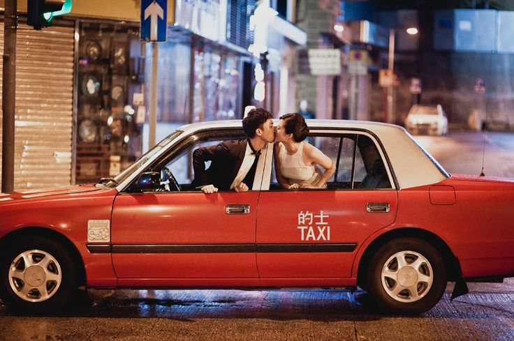 A kiss in a cab, love this! A Chic and Intimate Hong Kong Wedding: Elgin and Kai