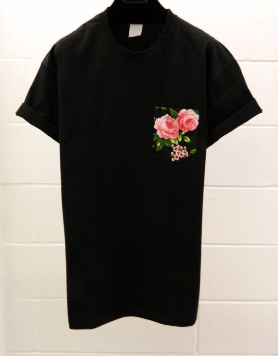 Men's Black and Pink Roses Floral Pattern Black by HeartLabelTees