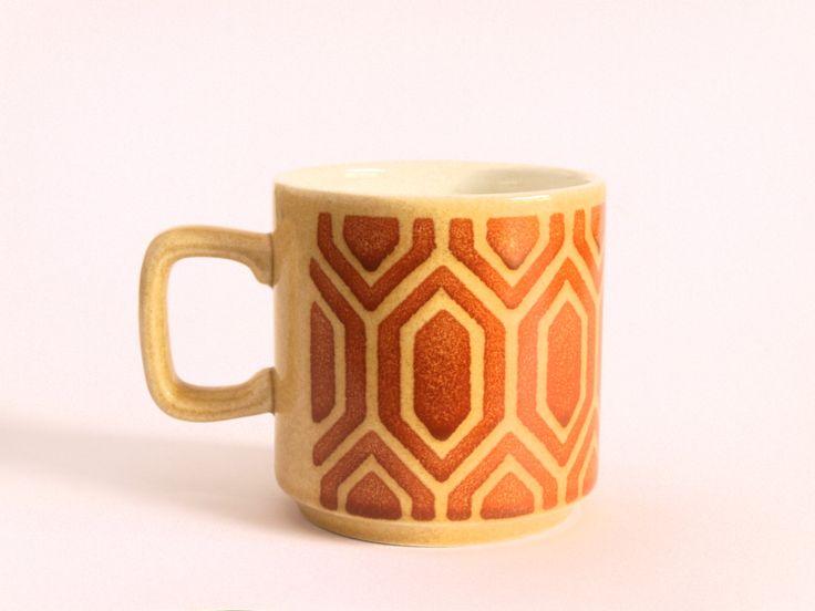 Retro Vintage Crown Lynn Geometric Mod Geometric Motif Coffee Mug - Orange Brown & Yellow Mug - Made in New Zealand by FunkyKoala on Etsy