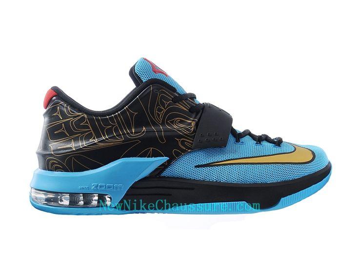Nike KD 7 N7 - Chaussure De Basket-ball pour Homme Pas Cher Noir Bleu