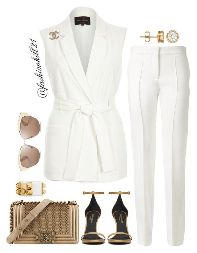 """""""Classy"""" by fashionkill21 ❤ liked on Polyvore featuring River Island, Victoria Beckham, Yves Saint Laurent, Chanel, Christian Dior and Hermès"""