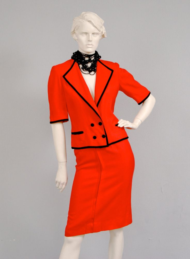 Vintage 1980s LOUIS FERAUD Tailored Black And Red Monochrome Skirt & Blouse. by vdpshop on Etsy