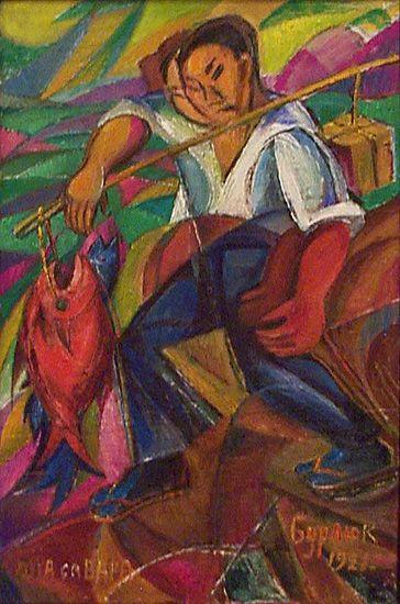 david burliuk paintings | Japan fisherman - David Burliuk - WikiPaintings.org