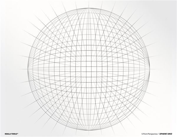 5 Point Perspective Sphere Grid Transparency Sheet 5 Point Perspective Perspective Drawing Point Perspective