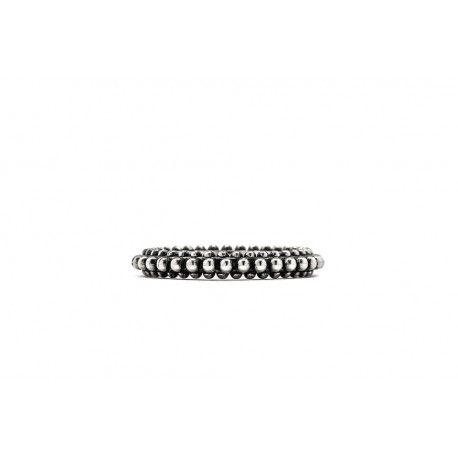 Anello mini fedina puntinato Argento 925‰ Finitura brunita lucida