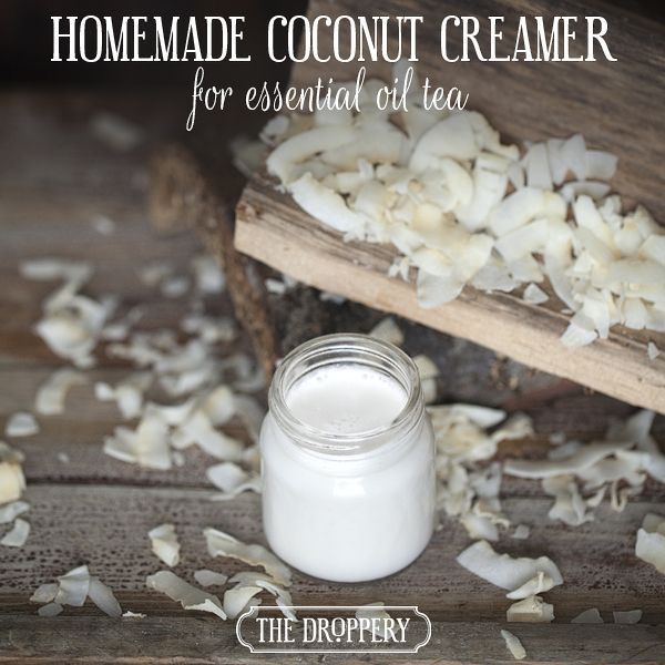 homemade coconut creamer for essential oil tea | www.thedroppery.com