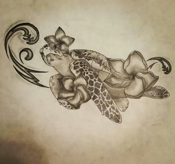Black and Grey Turtle Tattoo Design