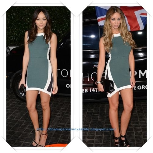 El mismo vestido en la misma fiesta dos invitadas diferentes!! Es un vestido de Topshop que llevaron Ashley Madekwe y Lauren Pope a la inauguración de una nueva tienda.