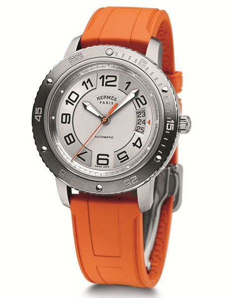 Hermès's Clipper Sport is casual yet luxe, with a titanium-and-steel case and a rubber strap in the company's signature shade of punchy orange