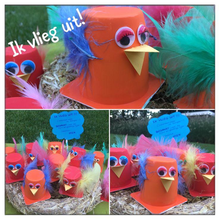 Traktatie | vogeltjes | ik vlieg uit > danoontje beplakken met veertjes en wiebeloogjes (Hema) en snaveltje van karton. Leuk op een 'nestje'<  #traktatie #trakteren #feest #afscheid #peuter #kleuter #diy