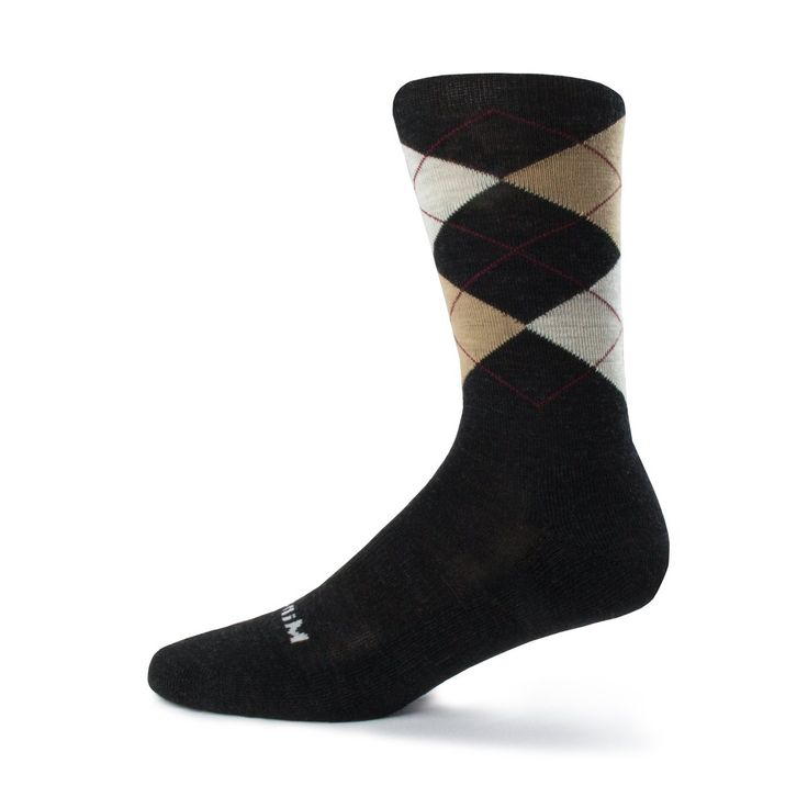 Minus33 Merino Wool Argyle Sock Natural, Charcoal Grey, Large. QUALITY MERINO WOOL SOCKS: 80% Merino Wool. Super soft and comfortable. Machine washable and dryable. Naturally antimicrobial and moisture wicking means no stinky feat. Use your Minus33 Argyle Socks at the office and out on the trail. CRAFTED TO FIT: Size S - XL in 3/4 style. With full cushion comfort you will love wearing these socks. 3% Elastane helps these argyle socks gently hug your feet. Seamless toe creates a more...