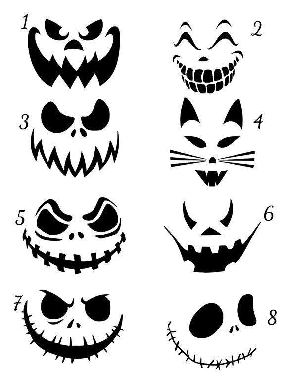 Dies ist eine Auflistung für ein Jack O Laterne Scary Faces Vinyl Aufkleber Halloween Gesicht