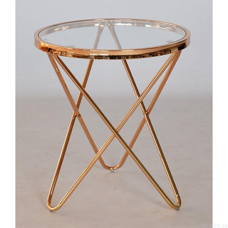 Melissa, ett runt soffbord, sidebord i glas och blank rosé, 45 cm