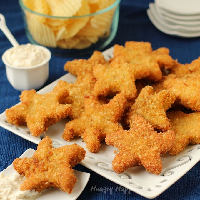 Beach Party Food Ideas Featuring Chip And Dip Chicken Patty Starfish