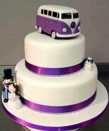 White and purple funny cake