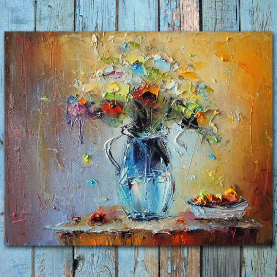 palette knife flowers oil painting colorful still life painting abstract flowers and fruits. Black Bedroom Furniture Sets. Home Design Ideas