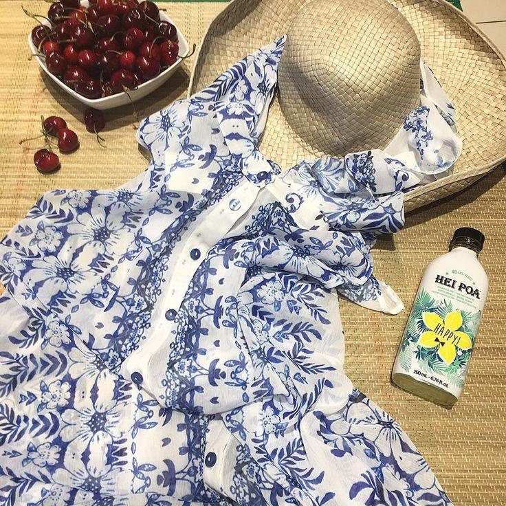 Summer days call for a fresh wardrobe update! 1st on our list: This Azulejo-printed shirt-dress from #matfashion #SpringSummer2016 #collection • Γλυκά μοτίβα με μπλε-άσπρες λεπτομέρειες μετατρέπουν τα must-have χρώματα του καλοκαιριού στις καλύτερες προτάσεις μόδας! (Κωδικός 651.7276.Τ) #matazulejos #fashion #ootd #summer #outfit #cherry #inspiration #realsize #fashionista #heipoa #fashiongram