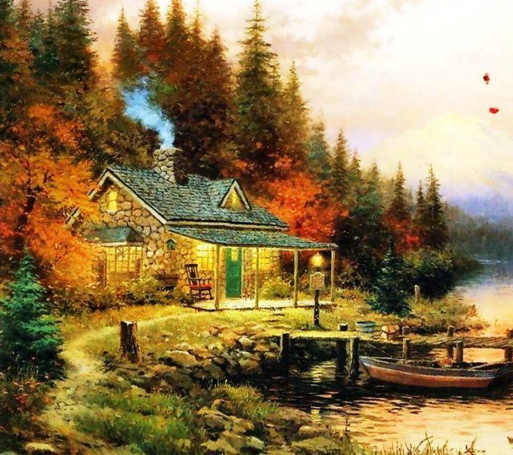 Thomas Kinkade Autumn Paintings Drawn Painting Oil
