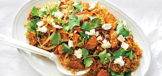 This hearty and wholesome vegetarian salad features the fresh zing of orange and flavoursome marinated feta.