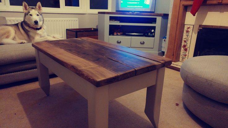 Homemade coffee table using mill sawn timber Robinia.