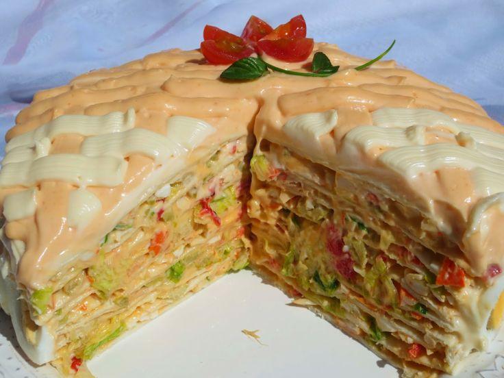 Tarta salada de tortitas (Fría) Ana Sevilla con Thermomix