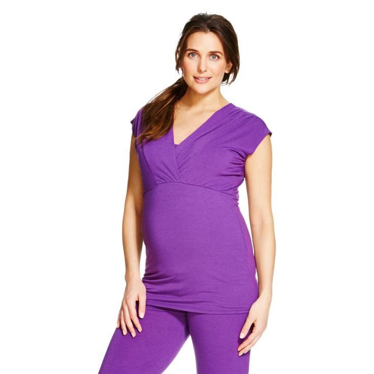Eve Alexander Maternity Cap Sleeve Empire Top L Purple, Women's