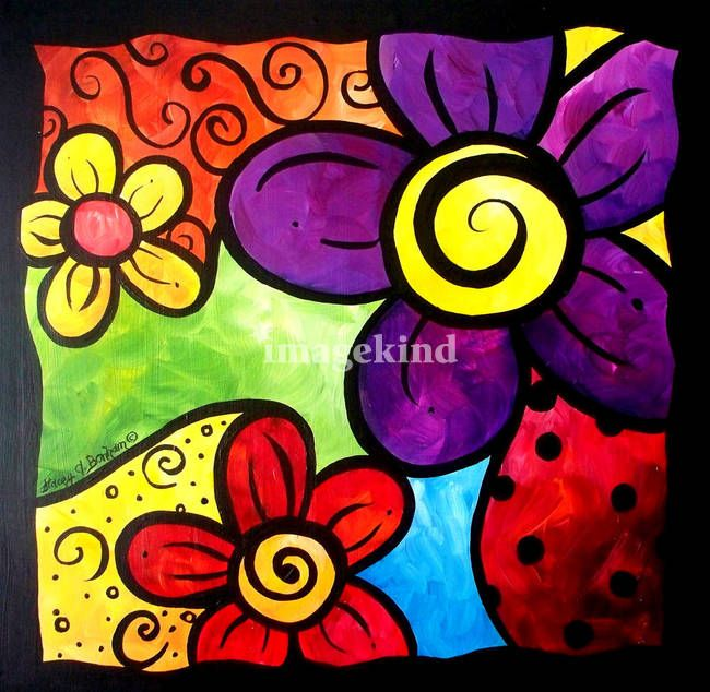 """""""Whimsical Flower Cluster"""" by Stacey Bonham, Winterset, IA // Acrylic on paint board.  A whimsical cluster of flowers. // Imagekind.com -- Buy stunning, museum-quality fine art prints, framed prints, and canvas prints directly from independent working artists and photographers."""