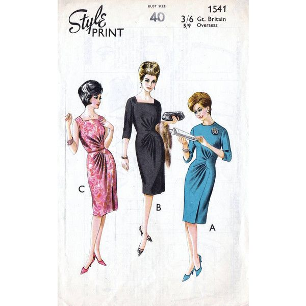 50s Style dress sewing pattern, 1541, Bust 40 inches, vintage sewing... ($13) ❤ liked on Polyvore featuring dresses, vintage dresses, white drape dress, white cocktail dress, 3/4 sleeve dresses and print dresses