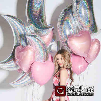 Большой лазер луна фольгированные шары день рождения свадьба фестиваль украшение окна, чтобы сфотографировать плавающей воздушный шарик-определиться. com дней кошка