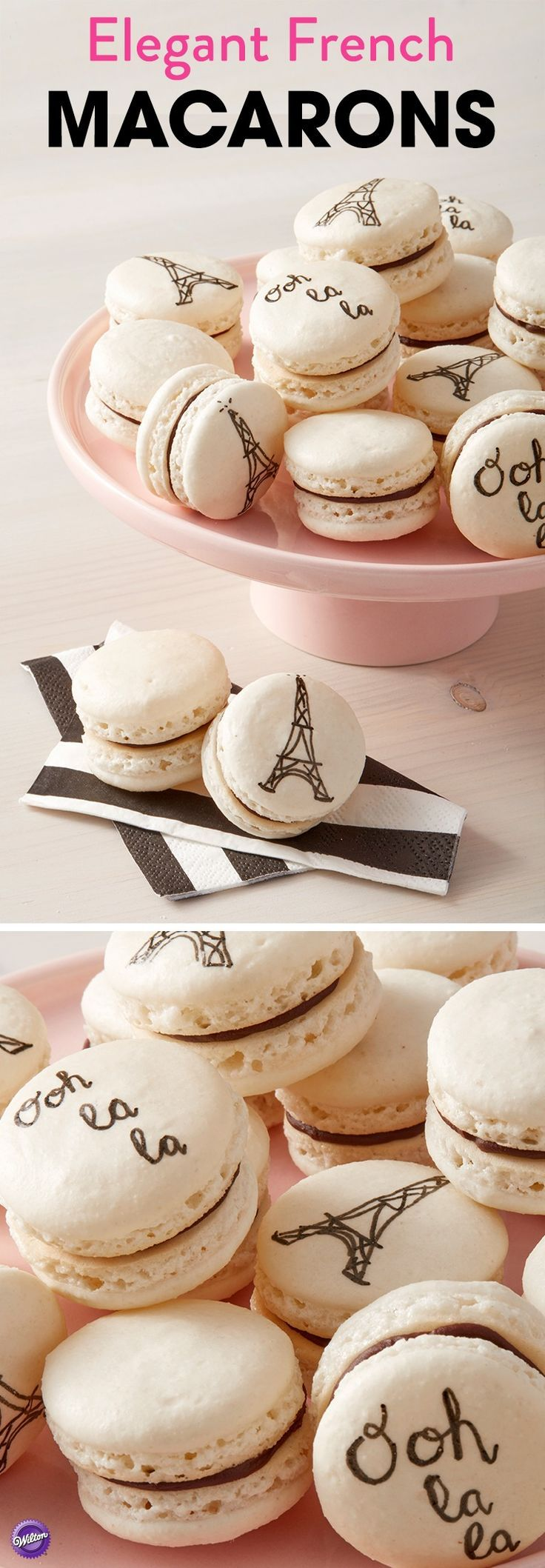 """A sweet treat that will give you a little taste of Parisian living, this easy Elegant French Macaron recipe is best enjoyed with a nice cup of cappuccino or café au lait. Customize your macarons using the FoodWriter Edible Color Markers. Draw pictures of the Eiffel Tower, fun French phrases like """"Ooh la la!"""" or write names or dates and hand these out as edible wedding favors. A great treat for entertaining, these Elegant French Macarons are sure to become a family favorite!"""
