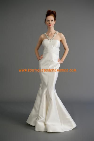 Robe de mariée sirène satin avec bretelles appliqué
