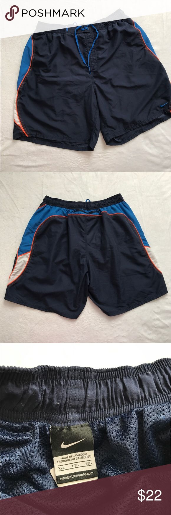 Nike Swim Trunks Navy XXL In excellent condition. They are lined. Tie waist. Nike Swim