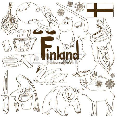 Fun sketch collection of Finland icons, countries alphabet Vector