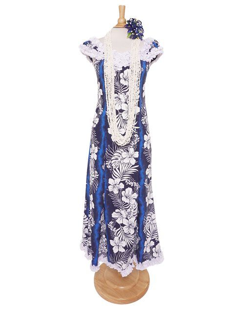 Hibiscus Fern Panel Blue Poly Cotton Hawaiian Nahenahe Ruffle Long Muumuu Dress