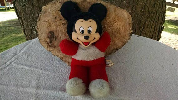 Vintage Mickey Mouse Plush Beanie Toy  1970's  Rubber