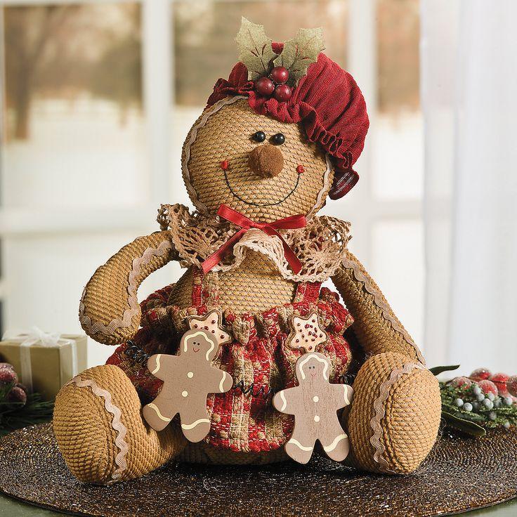 Plush Sitting Gingerbread Doll - TerrysVillage.com $15.00