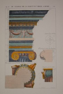 "columns and capitals V italian contemporary hand coloured engraving   9 x 14"" $110"