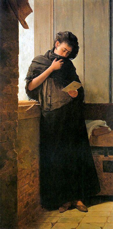 José Ferraz De Almeida Júnior  Brazilian Painter  1850-1899      Saudade, 1899     (Pinacoteca do Estado, São Paulo, Brazil)