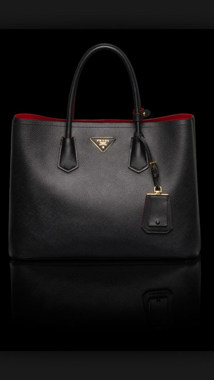 Prada Saffiano Cuir Double Bag in Black