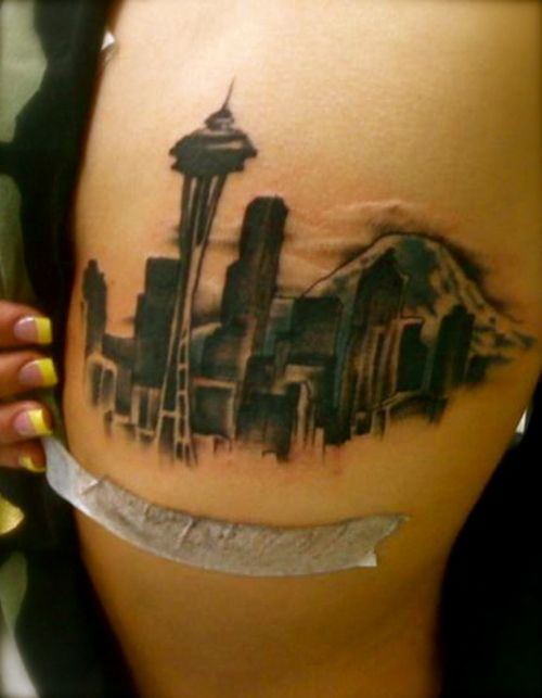"""Skyline is etched in my veins, you can't put that out no matter how hard it rain.""- Macklemore Seattle tatoo"