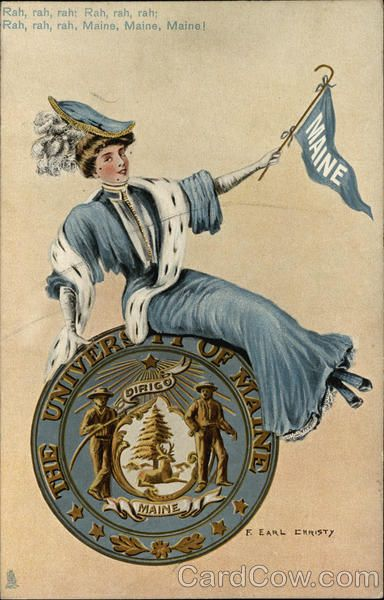 University of Maine Girl with Flag and Seal F. Earl Christy